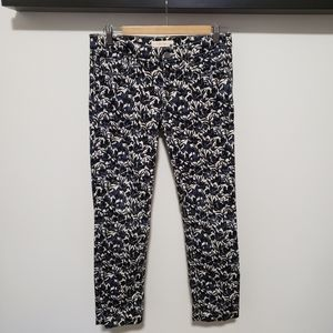 Tory Burch Holiday White Blue Floral Slim Jeans